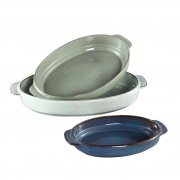 3PC Oval Baker W/Handle